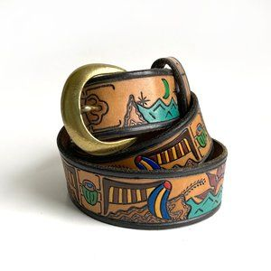 """Hand-Tooled Colored Leather Belt 42"""""""